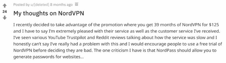 Screenshot of Reddit user praising NordVPN